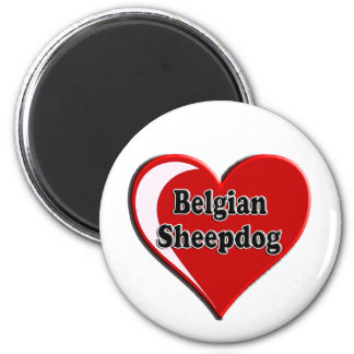 Belgian Sheepdog on Heart for dog lovers Refrigerator Magnets