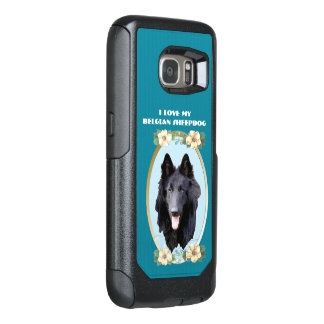 Belgian Sheepdog on Teal Floral OtterBox Samsung Galaxy S7 Case