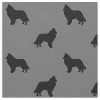Belgian Sheepdog Silhouettes Pattern Fabric