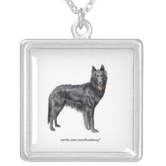 Belgian Sheepdog Square Pendant Necklace