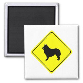 Belgian Shepherd Dog Silhouette Crossing Sign Magnets