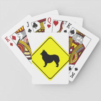 Belgian Shepherd Dog Silhouette Crossing Sign Poker Deck