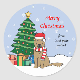Belgian Tervuren and Christmas Tree Round Sticker