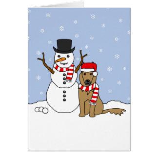 Belgian Tervuren and Snowman Card