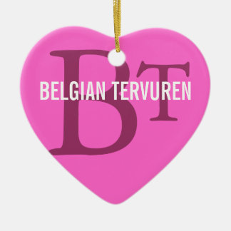 Belgian Tervuren Breed Monogram Ceramic Heart Decoration