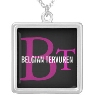Belgian Tervuren Breed Monogram Square Pendant Necklace