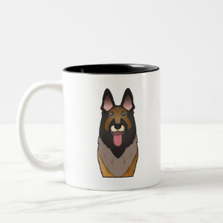 Belgian Tervuren Cartoon Two-Tone Coffee Mug