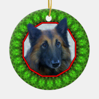 Belgian Tervuren Happy Howliday Round Ceramic Decoration