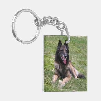 Belgian Tervuren Sheepdog dog beautiful photo Double-Sided Square Acrylic Key Ring