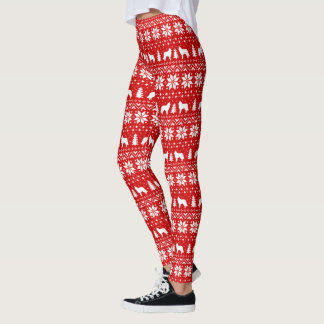 Belgian Tervuren Silhouettes Christmas Pattern Red Leggings