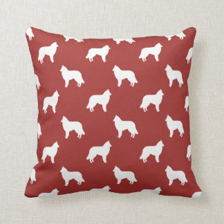 Belgian Tervuren Silhouettes Pattern Red Cushion