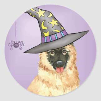 Belgian Tervuren Witch Round Sticker