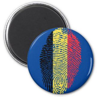 Belgian touch fingerprint flag 6 cm round magnet
