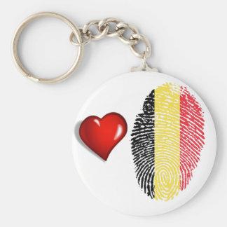Belgian touch fingerprint flag basic round button key ring