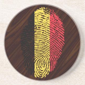 Belgian touch fingerprint flag drink coaster