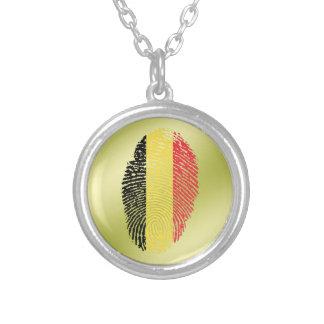 Belgian touch fingerprint flag silver plated necklace