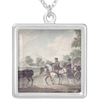 Belgian Wagon conveying Wounded from the Field Silver Plated Necklace