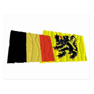 Belgium and Flanders Region Waving Flags Postcard