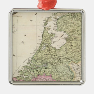 Belgium and Netherlands 2 Silver-Colored Square Decoration
