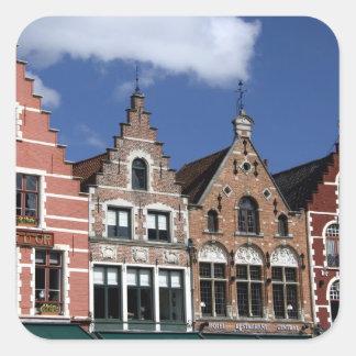 Belgium, Brugge (aka Brug or Bruge). UNESCO 2 Square Sticker