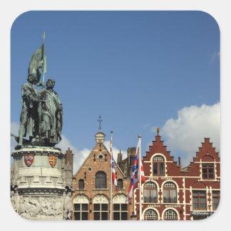 Belgium, Brugge (aka Brug or Bruge). UNESCO Square Sticker