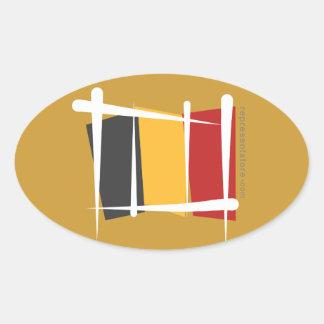 Belgium Brush Flag Oval Sticker