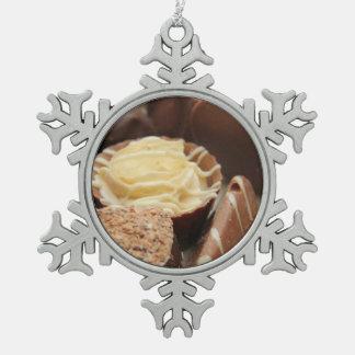 Belgium chocolates pewter snowflake decoration