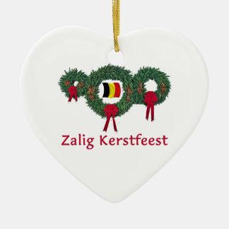 Belgium Christmas 2 Ceramic Heart Decoration