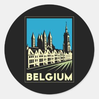 belgium europe art deco retro travel vintage classic round sticker