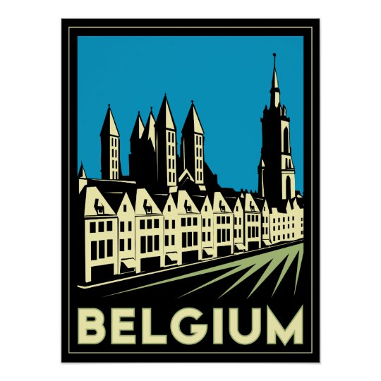 belgium europe art deco retro travel vintage poster