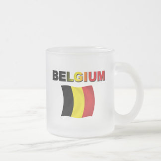 Belgium Flag Frosted Glass Coffee Mug