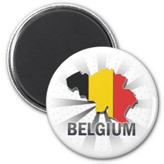 Belgium Flag Map 2.0 6 Cm Round Magnet