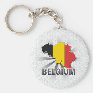 Belgium Flag Map 2.0 Basic Round Button Key Ring