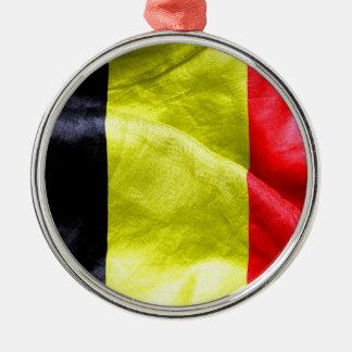 Belgium Flag Silver-Colored Round Decoration