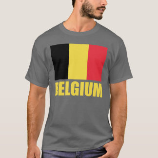 Belgium Flag Yellow Text T-Shirt