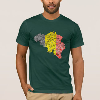 Belgium Flagcolor Map T-Shirt