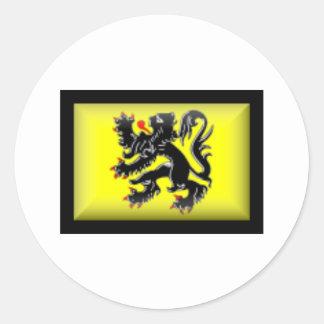Belgium-Flanders Flag Classic Round Sticker