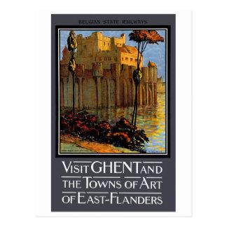 Belgium Ghent Vintage Travel Poster Restored Postcard
