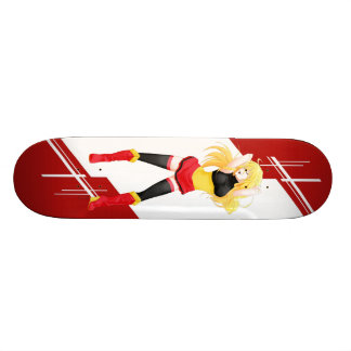 Belgium Manga girl dressed in Flag - Belgian 20 Cm Skateboard Deck
