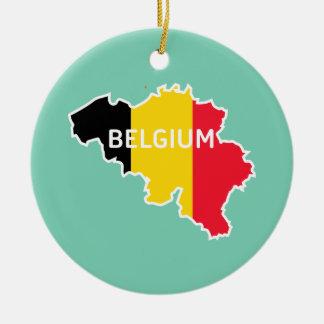 Belgium Map and Flag Christmas Ornament