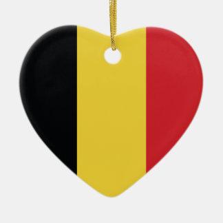 Belgium Plain Flag Ceramic Heart Decoration