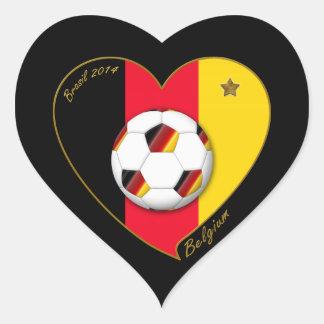 """""""BELGIUM"""" Soccer 2014 and Belgian Football Team Heart Sticker"""