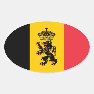 Belgium State Flag Oval Sticker
