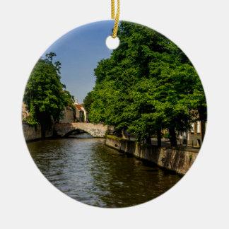 Belgium Travel Photography, Bruges Canal Round Ceramic Decoration