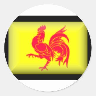 Belgium-Walloon Flag Classic Round Sticker