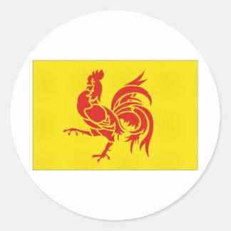 Belgium Walloon Region Flag Classic Round Sticker
