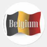 Belgium Waving Flag Round Sticker