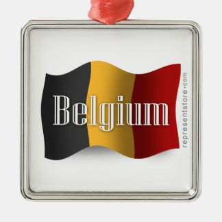 Belgium Waving Flag Silver-Colored Square Decoration