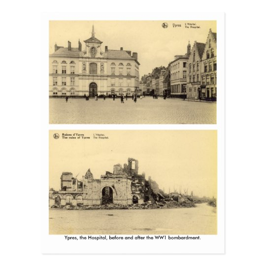 Belgium, Ypres - WW1 Bombardment Postcard