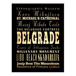 Belgrade City of Serbia Typography Art Postcard